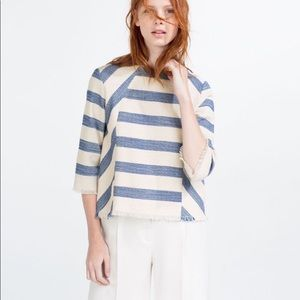 Zara Large striped fringe blouse